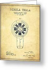 Nikola Tesla Patent Drawing From 1889 - Vintage Greeting Card