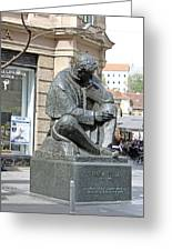 Nikola Tesla Sculpture In Zagreb Greeting Card by Borislav Marinic