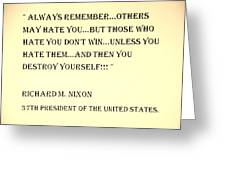 Nixon Quote In Sepia Greeting Card