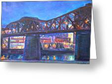 City At Night Downtown Evening Scene Original Contemporary Painting For Sale Greeting Card