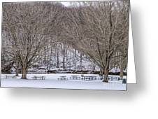 Snowy Picnic Ground In Winter Greeting Card