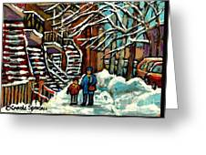 No School Today Out For A Snowy Walk Verdun Winter Winding Staircases Montreal Paintings C Spandau Greeting Card