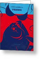 No433 My Piranha Minimal Movie Poster Greeting Card