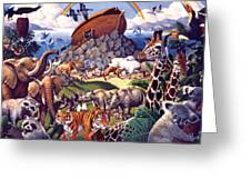 Noah's Ark Greeting Card by Mia Tavonatti