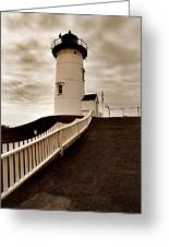 Nobska Lighthouse Greeting Card by Skip Willits