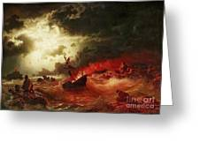 Nocturnal Marine With Burning Ship Greeting Card by Pg Reproductions