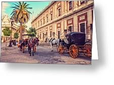 Noon At Cathedral Square. Seville Greeting Card