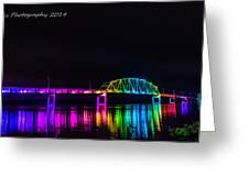 Norbert F. Beckey Bridge In Rainbow Lighting Greeting Card