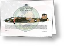 North American B-25j Mitchell Yellow Rose Greeting Card