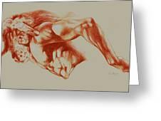 North American Minotaur Red Sketch Greeting Card