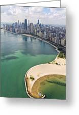 North Avenue Beach Chicago Aerial Greeting Card by Adam Romanowicz