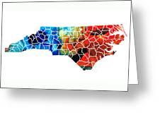 North Carolina - Colorful Wall Map By Sharon Cummings Greeting Card