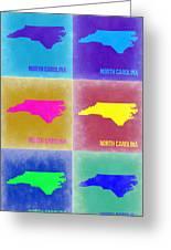 North Carolina Pop Art Map 2 Greeting Card