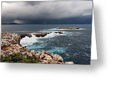Wild Rocks At North Coast Of Minorca In Middle Of A Wild Sea With Stormy Clouds Greeting Card
