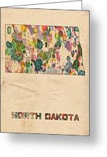 North Dakota Map Vintage Watercolor Greeting Card