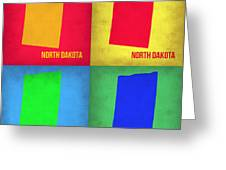 North Dakota Pop Art Map 1 Greeting Card by Naxart Studio