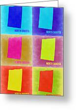 North Dakota Pop Art Map 2 Greeting Card
