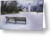 North Point Lighthouse And Bench Greeting Card