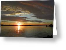 North River Sunset Greeting Card