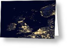 North Sea At Night, Satellite Image Greeting Card by Science Photo Library