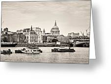 North Side Of The Thames Bw Greeting Card