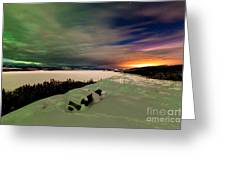 Northern Lights And City Light Pollution Night Sky Greeting Card