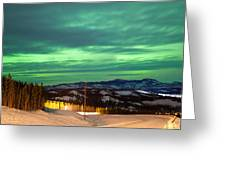 Northern Lights Aurora Borealis Over Rural Winter Greeting Card