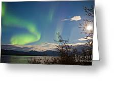 Northern Lights Full Moon Over Lake Laberge Yukon Greeting Card