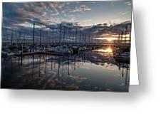 Northwest Marina Sunset Sunstar Greeting Card