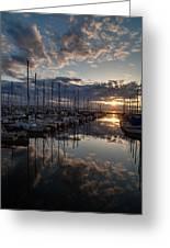 Northwest Sunset Marina Greeting Card