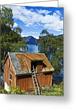 Norwegian Barn House Greeting Card