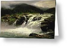 Norwegian Waterfall Greeting Card by Karl Paul Themistocles van Eckenbrecher