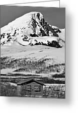 Norwegian Winter Mountain Cabin Greeting Card