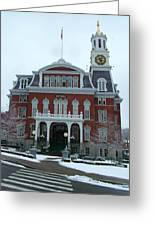 Norwich City Hall In Winter Greeting Card