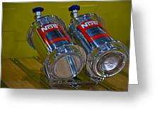 Nos Bottles In A Racing Truck Trunk Greeting Card