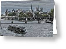 Notre Dame And Boat On The River Seine Paris Greeting Card