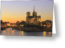 Notre Dame Cathedral At Sunset Paris France Greeting Card