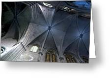 Notre Dame Ceiling In Blues Greeting Card