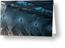 Notre Dame Ceiling North In Teal Greeting Card