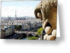 Notre Dame View From The Roof Greeting Card