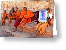 Novice Buddhist Monks Greeting Card