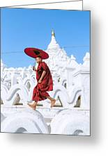 Novice Monk Jumping On White Pagoda - Mandalay - Burma Greeting Card