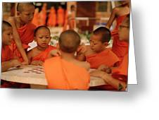 Novice Monks Greeting Card