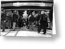 Now Boarding Track 12 And 10 For Home Bw Greeting Card