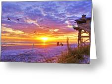 Nsb Lifeguard Station Sunrise Greeting Card