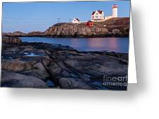 Nubble Light Along Maine's Rugged Coast York Beach Maine Greeting Card