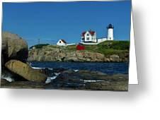 Nubble Light House York Beach Maine Greeting Card