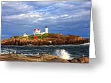 Nubble Lighthouse Greeting Card by Karen Winterholer