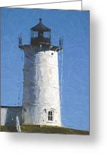 Nubble Lighthouse Maine Painterly Effect Greeting Card