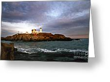 Nubble Lighthouse Greeting Card by Skip Willits